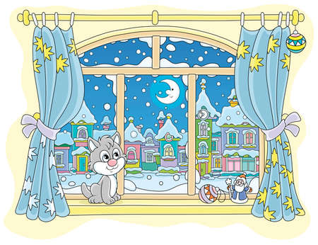 Little curious kitten sitting on a windowsill, looking through a window at the bright moon over a beautiful snow-covered town on a frosty winter night, cartoon illustration
