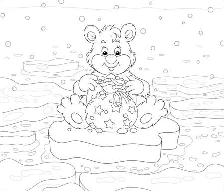 Friendly smiling little polar white bear sitting on an ice floe and opening a beautiful bag with a holiday gift, black and white outline vector cartoon illustration for a coloring book page Stock Illustratie