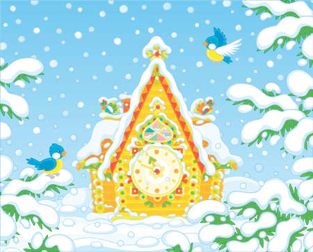 Christmas toy cuckoo-clock with a colorfully decorated log house covered with snow against a background of a winter forest, vector cartoon illustration