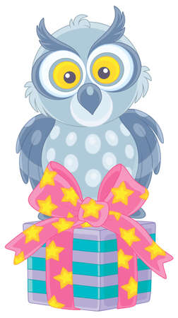 Funny grey owl sitting on a decorated box of a holiday gift, vector cartoon illustration on a white background