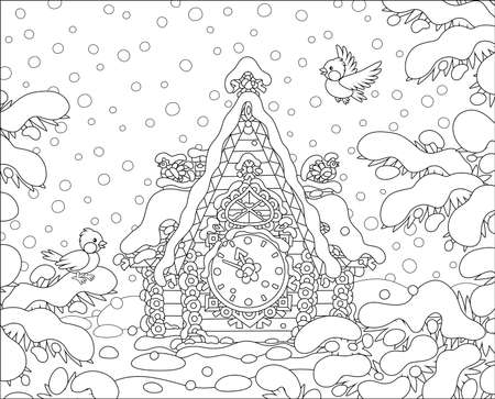 Christmas toy cuckoo-clock with a colorfully decorated log house covered with snow against a background of a winter forest, black and white vector cartoon illustration