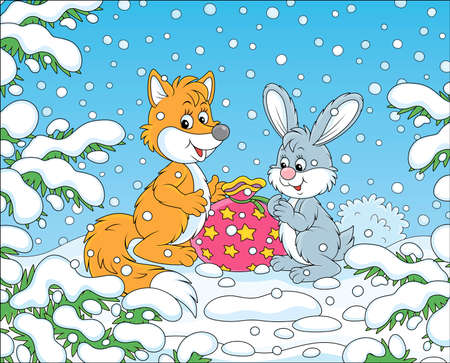 Red fox and a grey hare with a holiday gift bag under snow-covered branches of green firs in a winter forest on a beautiful snowy day, vector cartoon illustration