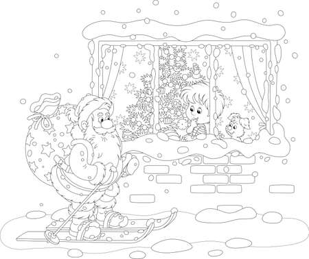 The night before Christmas, a little boy looking through a window at Santa Claus skiing with his big bag of holiday gifts, black and white vector cartoon illustration