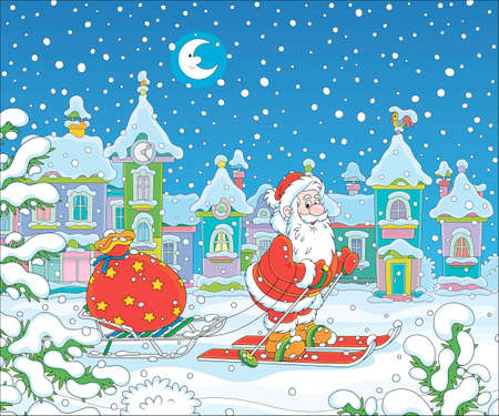 Santa Claus skiing and carrying his bag of Christmas gifts on his sledge through a snow-covered winter town on the snowy night before Christmas, vector cartoon illustration