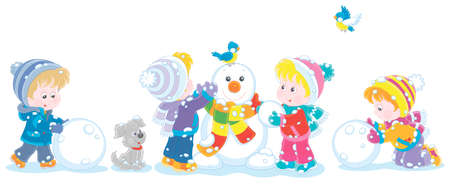 Happy little kids making big snow balls and sculpting a friendly smiling funny snowman with a colorful scarf, vector cartoon illustration Illustration
