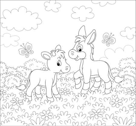 Small donkey and a little calf walking among wild flowers on grass of a summer field on a beautiful sunny day, black and white vector cartoon illustration