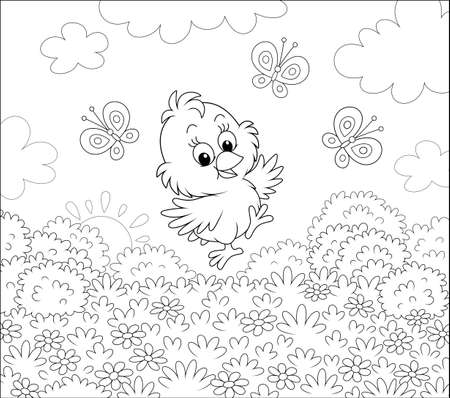 Cute little chick dancing for joy with funny butterflies among wild flowers of a pretty lawn on a sunny spring morning, black and white vector cartoon illustration for a coloring book page
