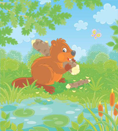 Brown beaver with a big flat tail and large teeth carrying a small gnawed log by a small blue lake in a green forest on a beautiful summer day, vector cartoon illustration  イラスト・ベクター素材