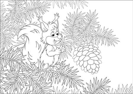 Friendly smiling small squirrel with a big cone on a branch of a prickly fir tree in a wild forest, black and white vector cartoon illustration for a coloring book