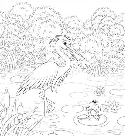 Big heron and a small frog on a lake among cane, grass and bushes of a summer meadow, black and white vector cartoon illustration for a coloring book  イラスト・ベクター素材
