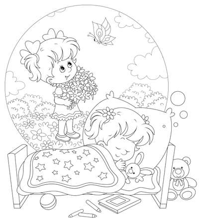 Little girl sleeping in her bed and dreaming of a sunny summer day, flowers and a beautiful butterfly, black and white vector cartoon illustration for a coloring book page