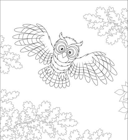 Striped owl with big round eyes flying in the midnight sky and hunting over a wild forest, black and white vector cartoon illustration for a coloring book page