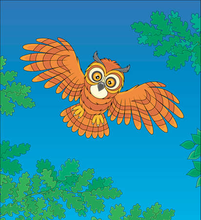 Brown striped owl with big round eyes flying in the dark-blue midnight sky and hunting over a wild forest, vector cartoon illustration