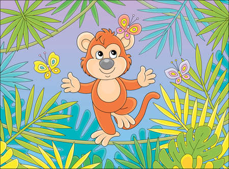 Funny cheerful monkey balancing on a long liana and playing with small colorful butterflies among palm branches in a tropical jungle, vector cartoon illustration Ilustração
