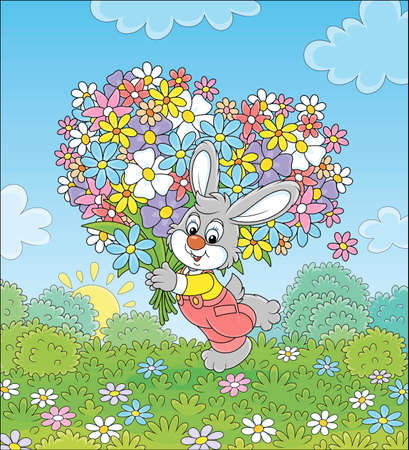 Little grey bunny with its big bouquet of colorful wildflowers on a pretty summer field, vector cartoon illustration Ilustracja