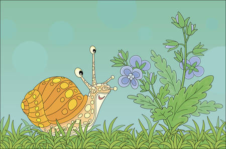 Funny garden snail friendly smiling and smelling a wonderful aroma of a beautiful wildflower among green grass of a field on a beautiful summer day, vector cartoon illustration 일러스트