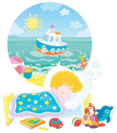Ragazzino che dorme nel suo letto e sogna di una bellissima piccola nave giocattolo nell'acqua blu di una spiaggia del mare in una giornata di sole estivo, illustrazione del fumetto di vettore su un fondo bianco Vettoriali