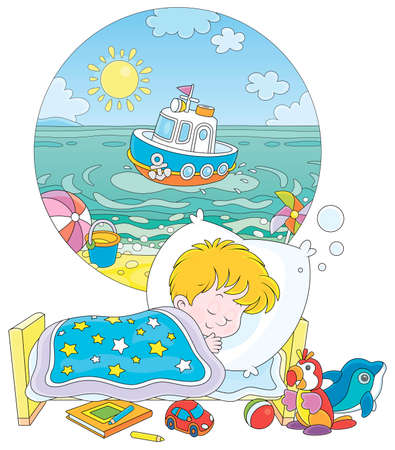 Little boy sleeping in his bed and dreaming of a beautiful small toy ship in blue water of a sea beach on a sunny summer day, vector cartoon illustration on a white background Standard-Bild - 139514189