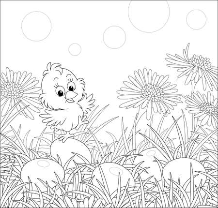 Little cheerful chick among wildflowers and painted Easter eggs in thick grass on a sunny spring day, black and white vector cartoon illustration for a coloring book page