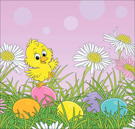Little yellow chick among colorful flowers and painted Easter eggs in thick green grass on a sunny spring day, vector cartoon illustration for a greeting card Ilustrace