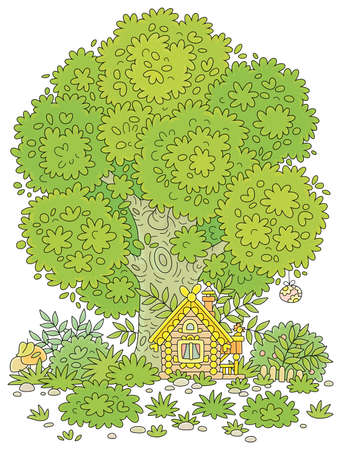 Small wooden house from a fairytale with Easter decorations, a porch and a fence under a big branchy tree on a pretty forest glade, vector cartoon illustration 向量圖像