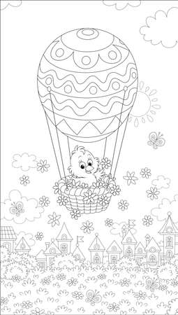 Little Easter chick flying in its holiday basket with a decorated balloon above a small toy town on a sunny spring day, black and white vector cartoon illustration for a coloring book page