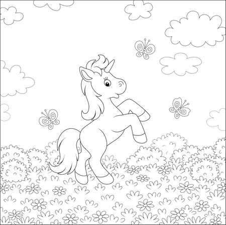 Little magical unicorn dancing with funny butterflies among wild flowers on a summer field on a warm sunny day, black and white vector cartoon illustration for a coloring book page Archivio Fotografico - 140247742