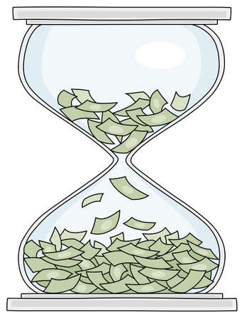 Losing of money and squandering time in an hourglass, vector cartoon illustration on a white background