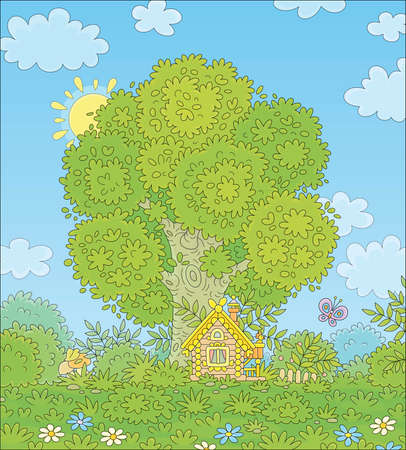 Small wooden house from a fairytale with decorations, a porch and a fence under a big branchy tree on a pretty forest glade on a sunny summer day, vector cartoon illustration