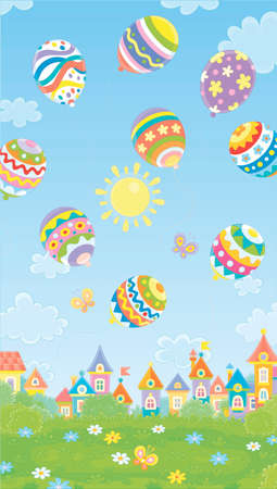 Colorfully decorated Easter balloons flying in the blue sky above a small toy town on a sunny spring day, vector cartoon illustration
