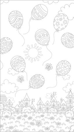Decorated Easter balloons flying in the sky above a small toy town on a sunny spring day, black and white vector cartoon illustration for a coloring book page