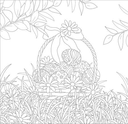 Easter wicker basket with a bow, painted eggs and flowers, black and white vector cartoon illustration for a coloring book page