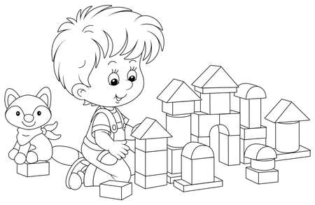 Little boy smiling, playing with bricks and constructing a toy fortress for a game, black and white vector cartoon illustration for a coloring book page