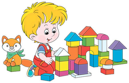 Little boy smiling, playing with color bricks and constructing a toy fortress for a game, vector cartoon illustration on a white background
