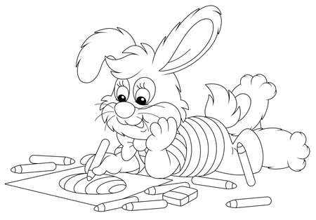 Little Easter bunny smiling and drawing a decorated holiday egg with color pencils on a sheet of paper for a greeting card, black and white vector cartoon illustration for a coloring book page