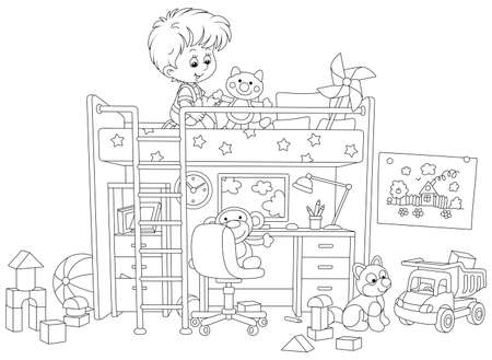 Happy little boy playing with toys in his playroom with a funny bed and a table with a computer and a lamp, black and white vector cartoon illustration for a coloring book page