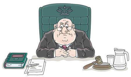 Angry judge sitting at his desk with a gavel and documents at judicial hearing in court of law, vector cartoon illustration on a white background