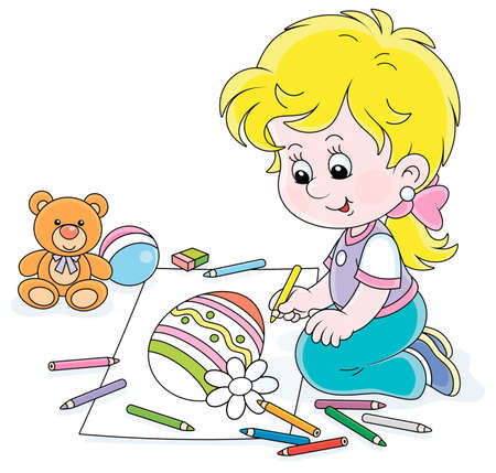 Cute little girl smiling and drawing a decorated Easter egg with color pencils on a big sheet of paper for a greeting card, vector cartoon illustration on a white background