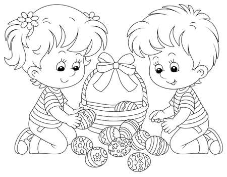 Happy little children putting painted eggs in an Easter basket decorated with a beautiful bow, black and white vector cartoon illustration for a coloring book page
