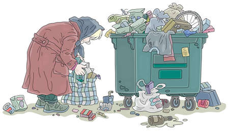Elderly poor woman looking for food and collecting leftovers in her old bag near a crowded street litter bin, vector cartoon illustration on a white background Ilustración de vector