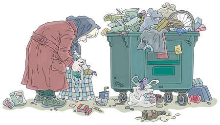 Femme âgée pauvre à la recherche de nourriture et ramassant des restes dans son vieux sac près d'une poubelle de rue bondée, illustration de dessin animé de vecteur sur fond blanc Vecteurs