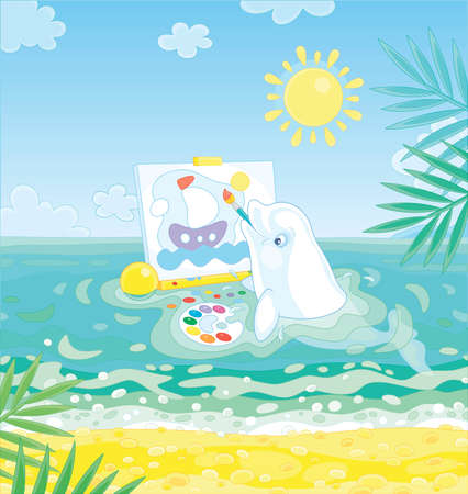Small white dolphin drawing a funny picture of a toy sailing ship in blue water of a tropical beach on a sunny summer day, vector cartoon illustration