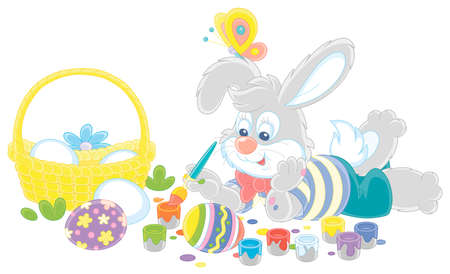 Happy little grey bunny painting beautiful ornate Easter eggs with bright and colorful paints and an art paintbrush, vector cartoon illustration on a white background