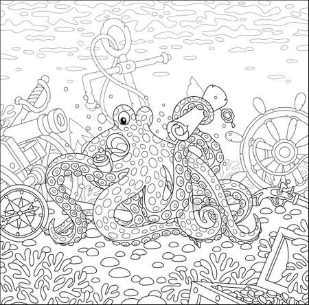 Sea pirate Octopus with a map of a treasure island and a big wooden chest of gold from an old sunken ship among wreckage of a shipwreck on a coral reef, black and white vector cartoon illustration Stock Illustratie