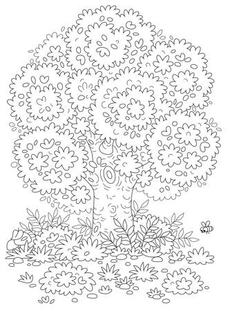 Big branchy oak tree, bushes and mushrooms in grass on a pretty forest glade in summer, black and white vector cartoon illustration for a coloring book page