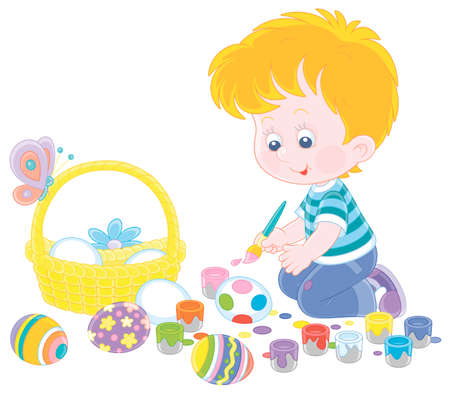 Happy little boy getting ready for the holiday, coloring and decorating Easter eggs with a paintbrush and bright and colorful paints, vector cartoon illustration on a white background