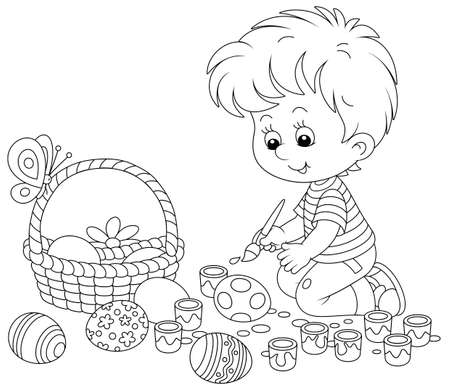 Happy little boy getting ready for the holiday, coloring and decorating Easter eggs with a paintbrush and bright and colorful paints, black and white vector cartoon illustration for a coloring book