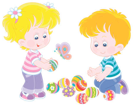 Happy and merry little children collecting colorfully painted and decorated eggs after an Easter egg hunt on a spring field, vector cartoon illustration on a white background