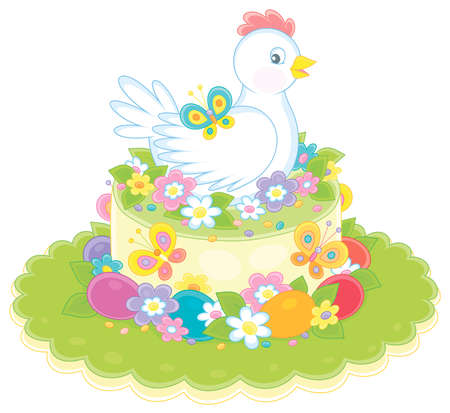 Fancy Easter toy hat made like a sweet holiday cake with a cute white hen, painted eggs, colorful flowers and flittering bright butterflies, vector cartoon illustration on a white background
