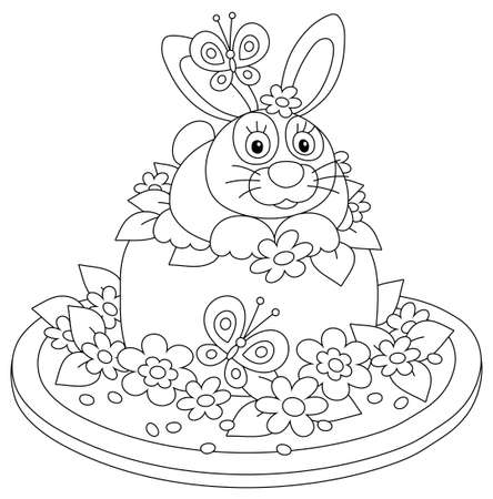 Fancy Easter toy hat made like a sweet holiday cake with a cute small bunny, garden flowers and flittering butterflies, black and white vector cartoon illustration for a coloring book Vektorové ilustrace